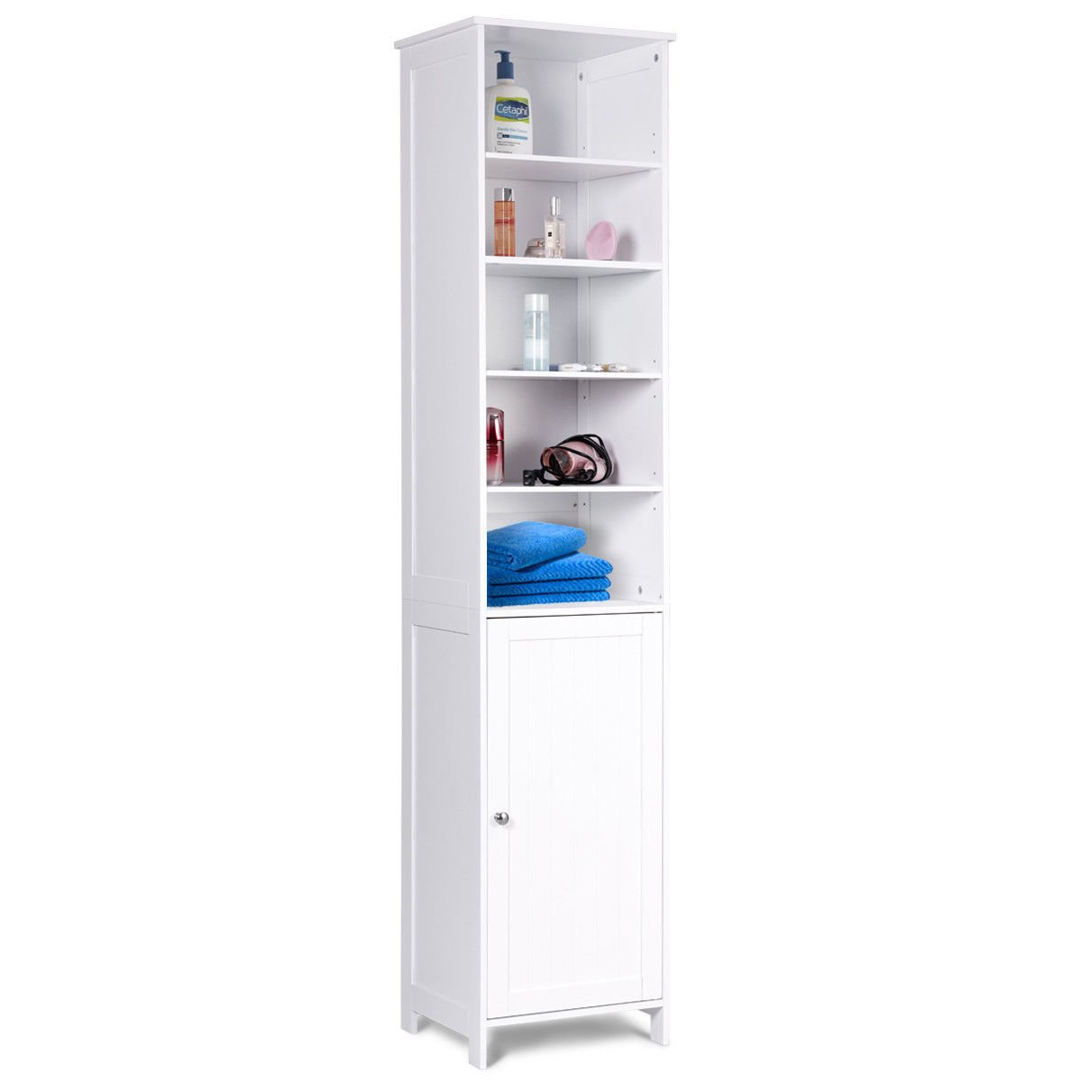 Tangkula 72 Inches Tall Cabinet, Bathroom Free Standing Tower Cabinet with Adjustable Shelves & Cupboard with Door Space Saving Cabinet Organizer Home Storage Furniture, White by Tangkula