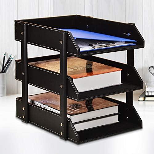 办公三层桌面文件盘架子多层资料框文件夹收纳盒座筐栏档案置物架