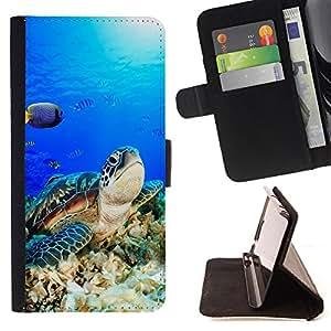 - Sea turtle - - Monedero PU titular de la tarjeta de cr?dito de cuero cubierta de la caja de la bolsa FOR LG OPTIMUS L90 Retro Candy
