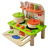 Bee Smart Toddler Play Kitchen Playset for Kids - Toy kitchen set - Wooden kitchen playset with accessories for pretend play