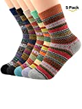 Century Star Women's Vintage Winter Soft Wool Warm Comfort Cozy Crew Socks 5 Pack 5 Pairs Stripes