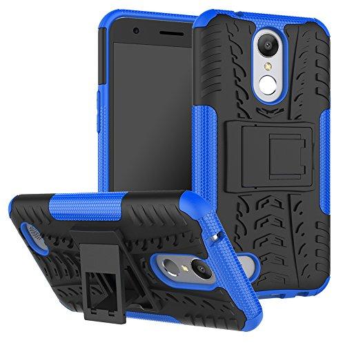 OFU®Para LG K10 (2017) 5.3 Smartphone, Híbrido caja de la armadura para el teléfono LG K10 (2017) 5.3 resistente a prueba de golpes contra la lucha de viaje accesorios-Rose Red azul