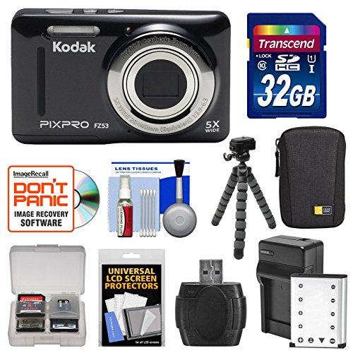 Kodak PixPro Friendly Zoom FZ53 Digital Camera (Black) with 32GB Card + Battery & Charger + Case + Flex Tripod + Kit (Kodak Digital Camera Tripod)