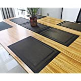 Placemats and Table Runner,Famibay Heat Insulation PVC Place Bats Stain-resistant Crossweave Woven Table Mats for Kitchen (Set of 4+Table Runner 53 inch,Coffee)