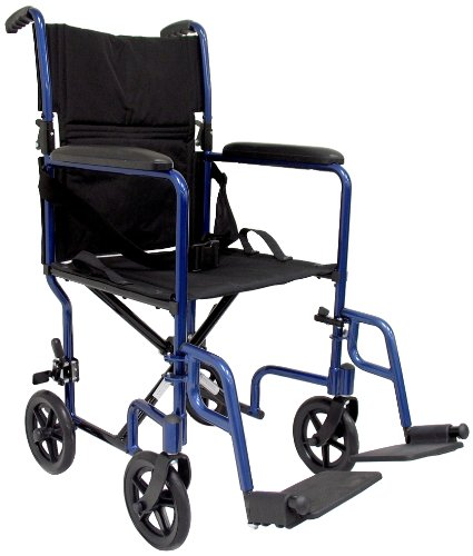 Karman Healthcare LT-2019-BK Folding Aluminum Transport Chair with Removable Footrests, Black, 19 Inches Seat Width