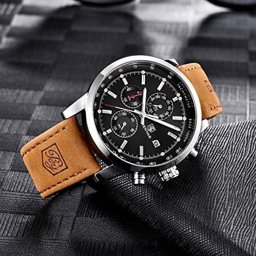 BENYAR Fashion Men s Quartz Chronograph Waterproof Watches Business Casual Sport Design Brown Leather Band Strap Wrist Watch Silver Back