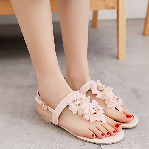 YE Damen Zehentrenner Flache Knöchelriemchen Sandalen mit Blumen und Schnalle Bequem Süß Schuhe Rosa