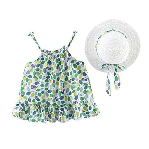 (2PCS Kids Girls Princess Dress,Strap Casual Sleeveless Ruffled Floral Ruched Bow Princess Dress+Hat Age:6M-3 Years (12-18 Months, Green))