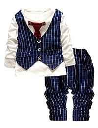 AIEOE Boys Checked Vest Tie Shirt Long Tops Pants Party Tuxedo Waistcoat Outfit Suit