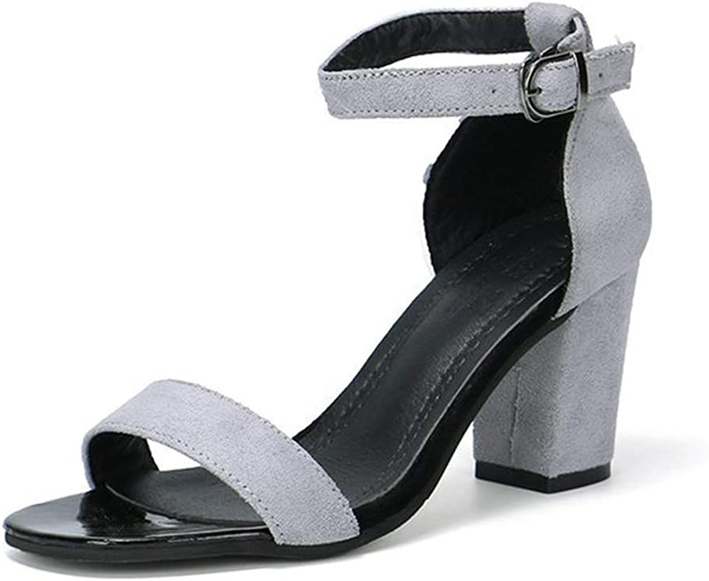Romose Womens Sandals Ankle Buckle Chunky Heel 7.5 cm Peep Toe Round Toe Pumps High Heels Basic Womens Shoes Summer Roman Sandals