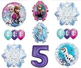 LoonBalloon FROZEN Anna ELSA OLAF Snowman Snowflake 5th #5 12 Birthday Party Balloons Set O