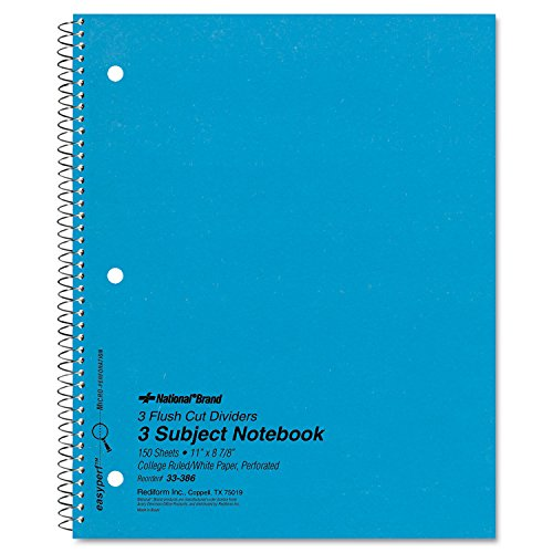 - National 33386 3 Subject Wirebound Notebook College Rule 11 x 8 7/8 White 150 Sheets