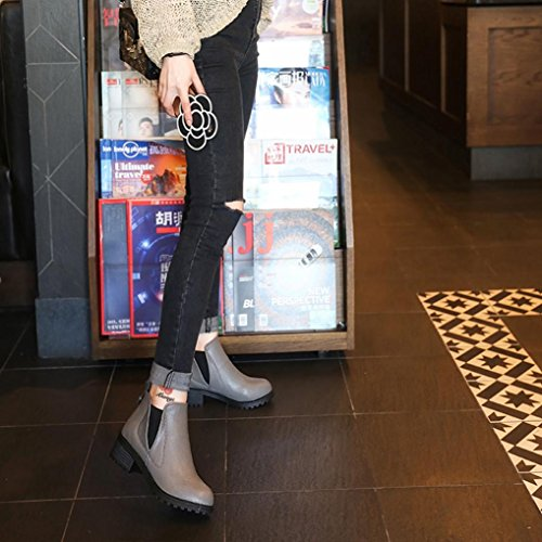 Ankle Boots LuckyBB New Boots Winter Shoes Fashion Heels By Gray Low Womens Fqqt0
