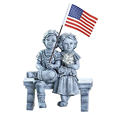 Collections Etc Kids on Bench Patriotic Outdoor Lawn Ornament Garden Statue Yard Decoration