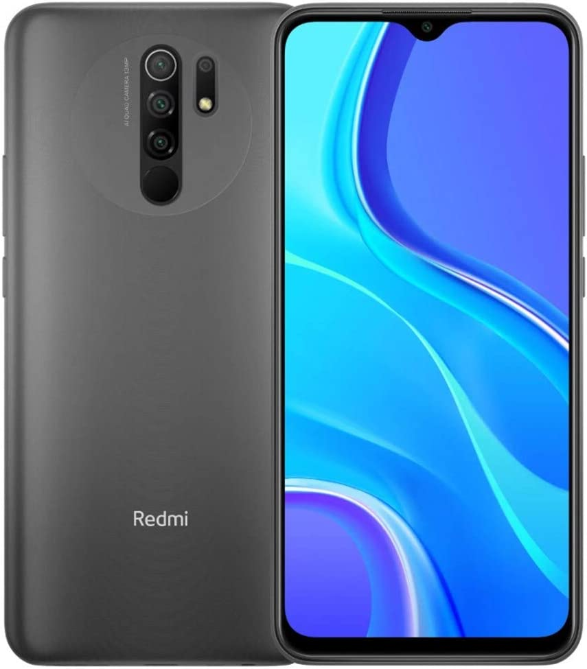 "Xiaomi Redmi 9 64GB, 4GB RAM, 6.53"" Full HD + AI Quad Camera, LTE Factory Unlocked Smartphone - International Version (Carbon Grey)"