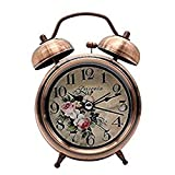 Vintage Twin Bell Alarm Clock 3'' Metal Quartz Analog Quiet Non-ticking Bedside Nightlight Alarm Clock