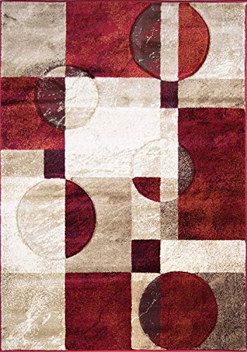 ADGO Atlantic Collection Modern Abstract Geometric Squares Circles Lines Soft Contemporary Comfy Area Rug, Red Tan Brown, 3