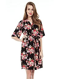 Missfashion Womens Cotton Kimono Robe Floral Wedding Nightgown