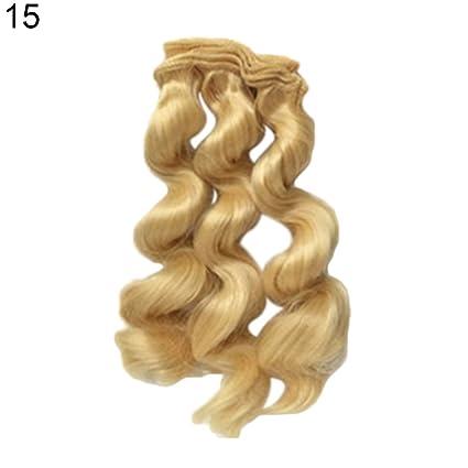 Peluca de 15 cm, pelo rizado para reparación de barbies, accesorios de colores sólidos