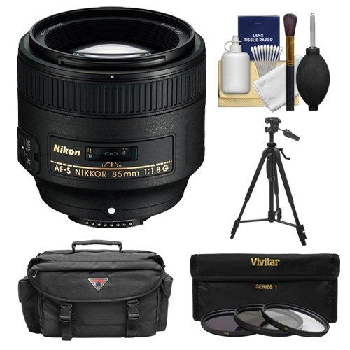 Nikon 85 Mm F / 1.8g af-s Nikkorレンズwith 3 UV / CPL / nd8フィルタ+ケース+三脚+クリーニングキットfor d3200、d3300、d5200、d5300、d7000、d7100、d610、d800、d810、d4s DSLRカメラ   B007EDXIUU