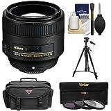 Nikon 85mm f/1.8G AF-S Nikkor Lens with 3 UV/CPL/ND8 Filters + Case + Tripod + Cleaning Kit for D3200, D3300, D5200, D5300, D7000, D7100, D610, D800, D810, D4s DSLR Cameras