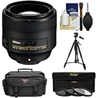 Nikon 85mm f/1.8G AF-S Nikkor Lens with 3 UV/CPL/ND8 Filters + Case + Tripod + Cleaning Kit for D3200, D3300, D5200, D5300, D7000, D7100, D610, D800, D810, D4s DSLR Cameras