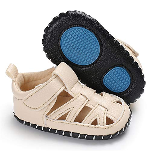(Infant Baby Boys Girls Summer Sandals PU Leather Rubber Sole Toddler First Walker Shoes (12-18 Months M US Infant, B-Khaki))