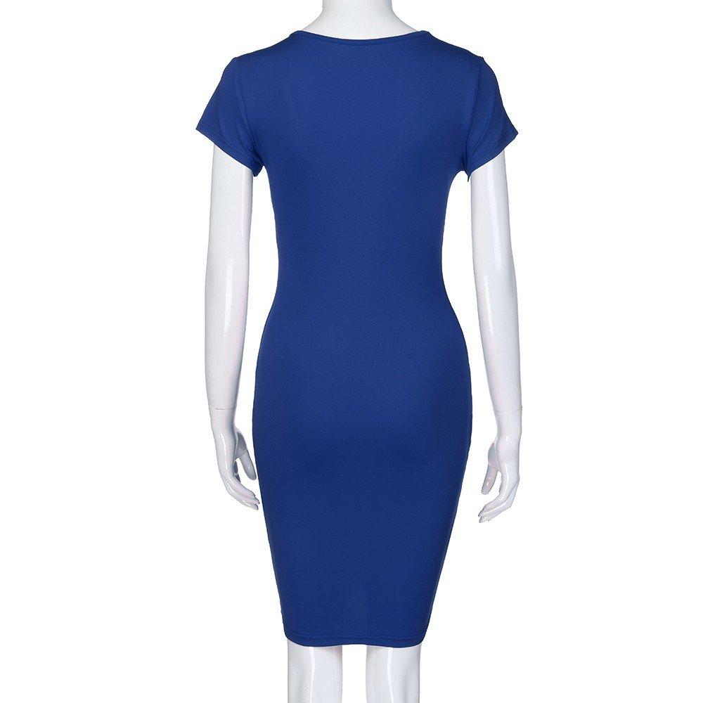 Ladies Sexy Dress,LuluZanm Women Short Sleeve Solid V-Neck Slim Casual Mini Beach Dress Blue