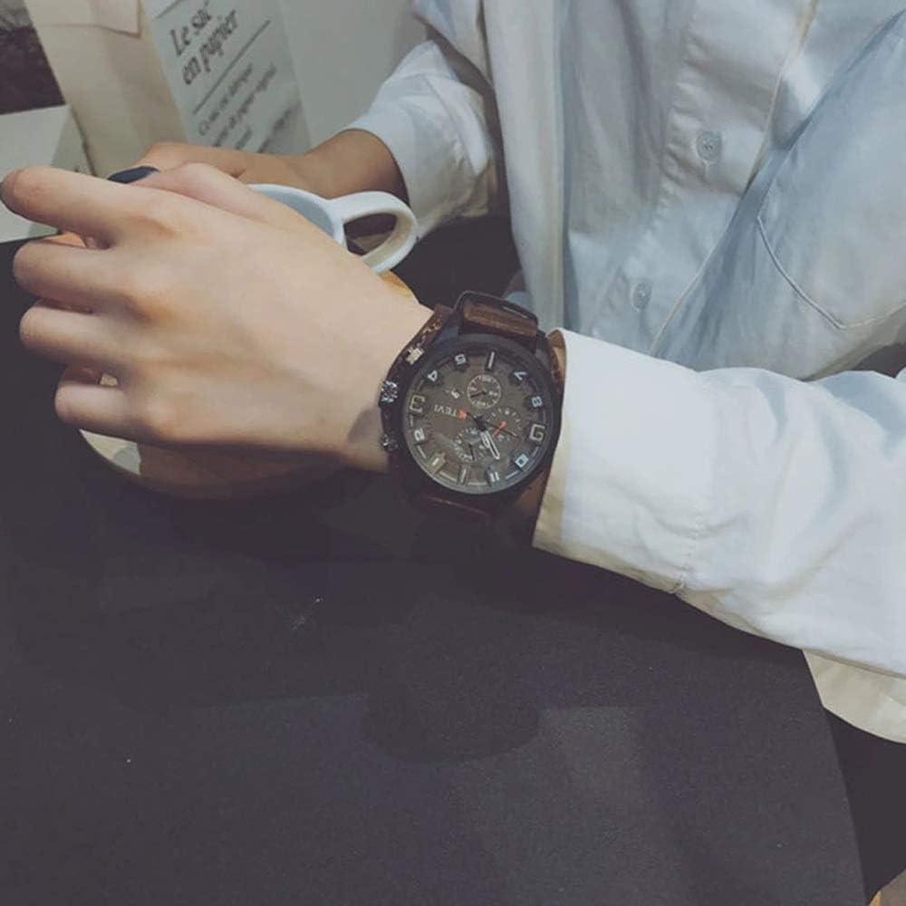 Xiniqng Correa De Cuero para Hombres/Reloj Deportivo/Trend Big Dial/Reloj Impermeable Multifunción (Color : Brown)