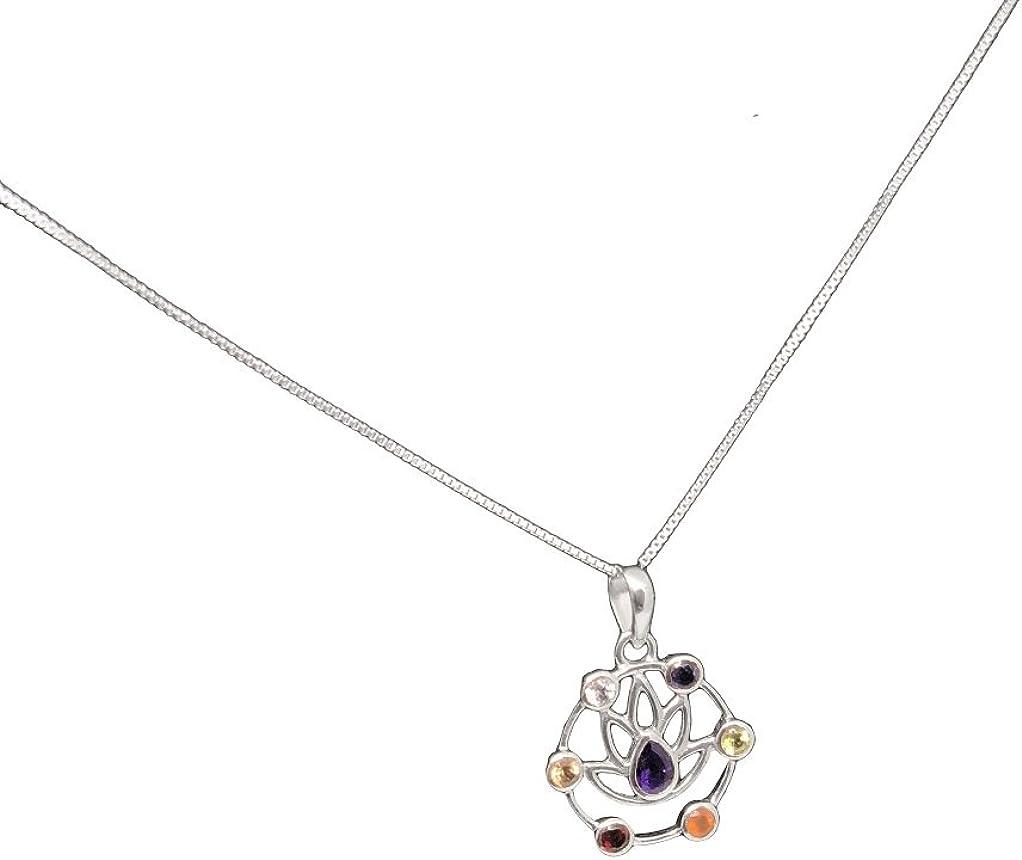 Mirabella BellaMira Women s Men s 925 Sterling Silver Chakra Pendant Gemstone Necklace – Ankh Lotus Om Kundalini Ganesh – Fine Meditation Yoga Jewelry in Gift Box