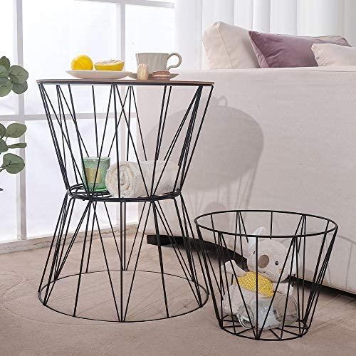 End Table Set of 2 Coffee Table Night Stand with Metal Storage Basket, 17 x 21 , 17 x 19 Two Size a Set Convertible Round Metal Basket Wood Veneer with 2 Storage Baskets
