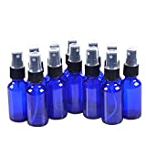 12 Pack,1oz Blue Glass Bottle Bottles with Black Fine Mist Sprayer.Refillable & Reusable.Designed for Essential Oils, Perfumes,Cleaning Products,Aromatherapy.12 Chalk Labels as gift.