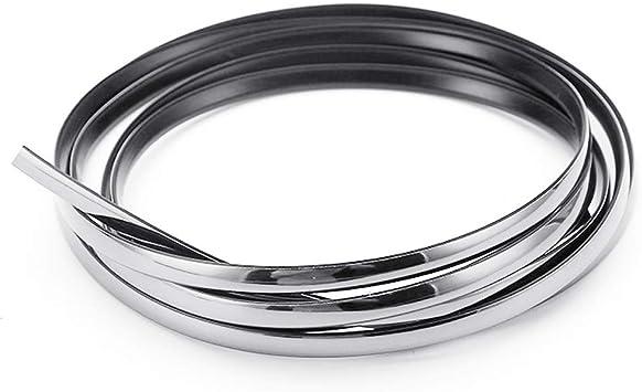 Senzeal Car Interior Moulding Trim,5M Flexible Trim for DIY Automobile Car Interior Exterior Moulding Trim Decorative Line Strip Silver