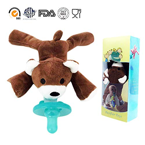 Baby Pacifier Holder Detachable Plush Stuffed Animal Toy BPA Free for Newborn Boy Girl + Soothie Case + Gift Box (Bear)