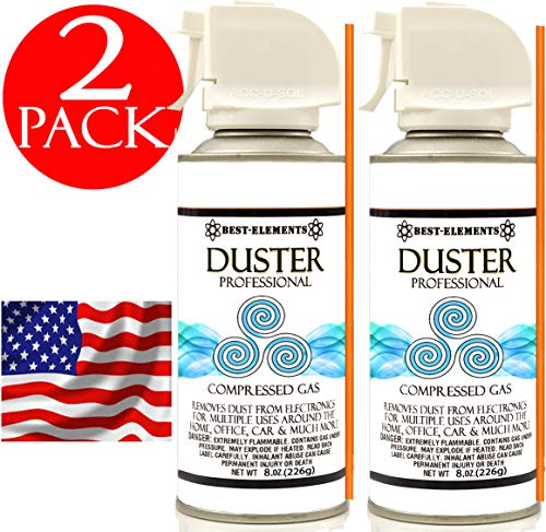 - Compressed Air Duster Can Best-Elements Non-Toxic & No Bitternt 8oz. Stop The Build-up of Dust in Your Electronics, Clogging up The Cooling Fan