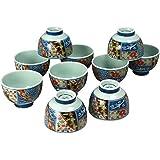 湯のみ おしゃれ : 錦四君子 十客高台仙茶 セット Japanese Cup x10pcs set Porcelain/Size(cm) Φ8x6/No:692836