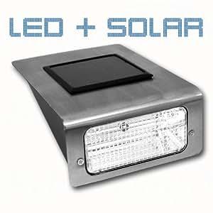 Aplique luz solar larga duración y ahorro energético, ideal exteriores, 13 x 17 cm