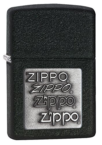 Zippo Pewter Emblem Black Crackle Lighter