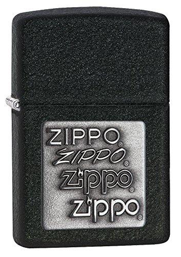 - Zippo Pewter Emblem Black Crackle Lighter