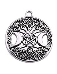 Lemegeton Pagan Triple Moon Goddess Pentacle Celtic Tree of Life Alloy Pendant for Jewelry Making