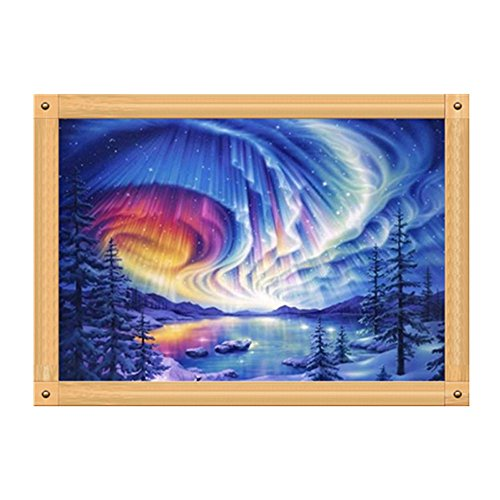 Sttech1 Oil Full Diamond Embroidery Painting New Paintworks Paint By Number for Kids and Adults-Love is an Aurora ()
