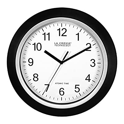 La Crosse Technology WT-3102B 10-Inch WWVB Self-Set Analog Wall Clock and Automatic DST Reset - For precise time in the home or office, atomic analog clock from La Crosse Technology. Atomic time with manual setting - Manual Reset Button Frame features chrome-colored finish with black inner trim; flat lens covers clock face from dust and debris Clock resets regularly by radio-control to match the US Atomic Clock in Colorado and adjusts automatically for daylight savings time - wall-clocks, living-room-decor, living-room - 51XRBZcaYGL. SS400  -