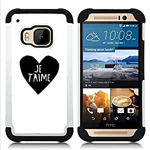 For HTC ONE M9 - love heart black white I You Je T'aime Dual Layer caso de Shell HUELGA Impacto pata de cabra con im??genes gr??ficas Steam - Funny Shop -