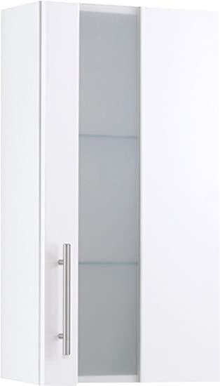 Held Möbel 012.3080 Miami Hängeschrank , 1 türig / 1 Glas-Einlegeboden/ 35  x 69 x 20 cm / Hochglanz-weiß