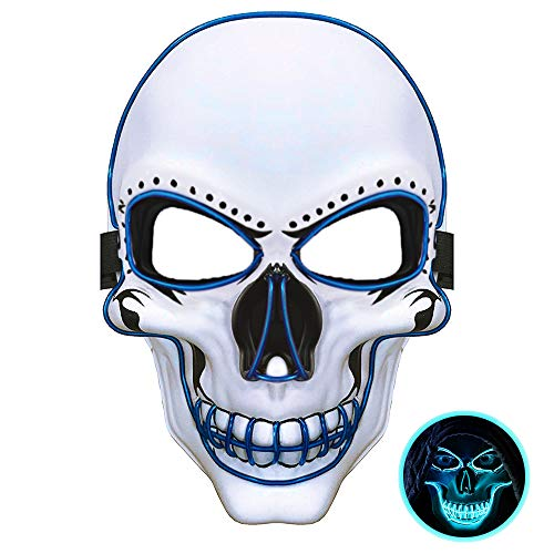 Scary Face Masks (WeyTy LED Halloween Scary Mask, Light Up Scary Death Skull Mask Cosplay Led Costume Mask for Halloween Festival)