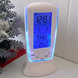 YOHAPP Digital Alarm Clock LED Mini With Blue Backlight (Size:4.9*2.3*2.2 Inch) (Color: Blue)