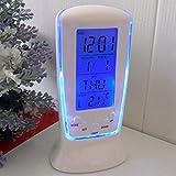 YOHAPP Digital Alarm Clock LED Mini With Blue Backlight (Size:4.9*2.3*2.2 Inch) (Color: Blue)