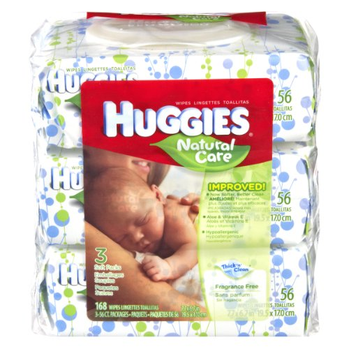 Huggies Natural Care Fragrance Free Soft Pack Wipes , 168 CT (Pack of 6)