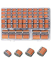 GFFG 55 PCS Universal Compact Wire Connectors, Compact Splicing Connectors, Push in Wiring Connector, Lever Nut Assortment Kit 2/3/4/5