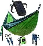 Winner Outfitters Double Camping Hammock-Lightweight Nylon Portable Hammock, Best Parachute Double Hammock For Backpacking, Camping and Solar Charger, 8000mAh 3-Port USB & 21LED Light Solar Power Bank
